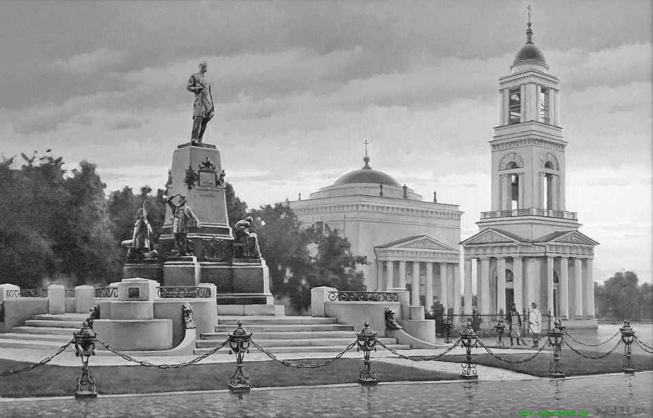 A monument to Alexander II, and Alexander Nevsky Cathedral